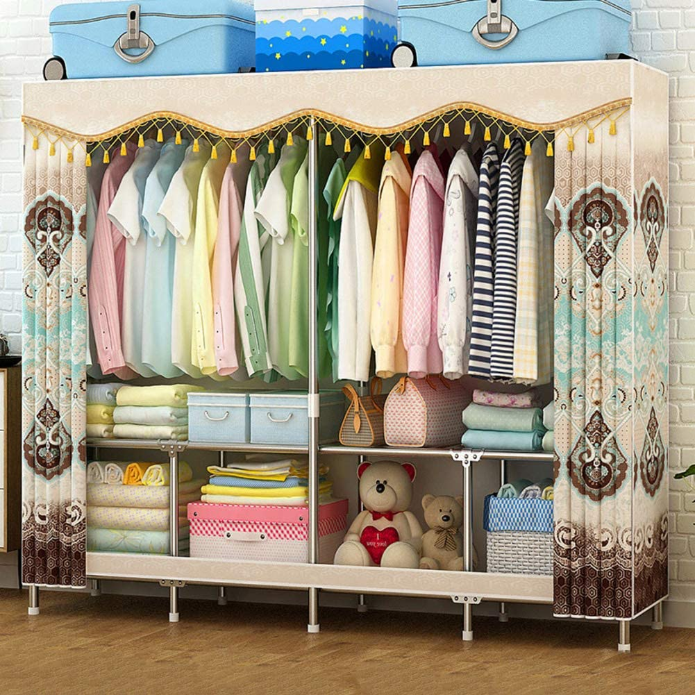Xnxn Portable Wardrobe Armoire Clothes Closet Organizer, Not-Woven Fabric Armoire with Hanging Rod Freestanding Shelves -Yellow L160xw48xh170cm(63x19x67inch)