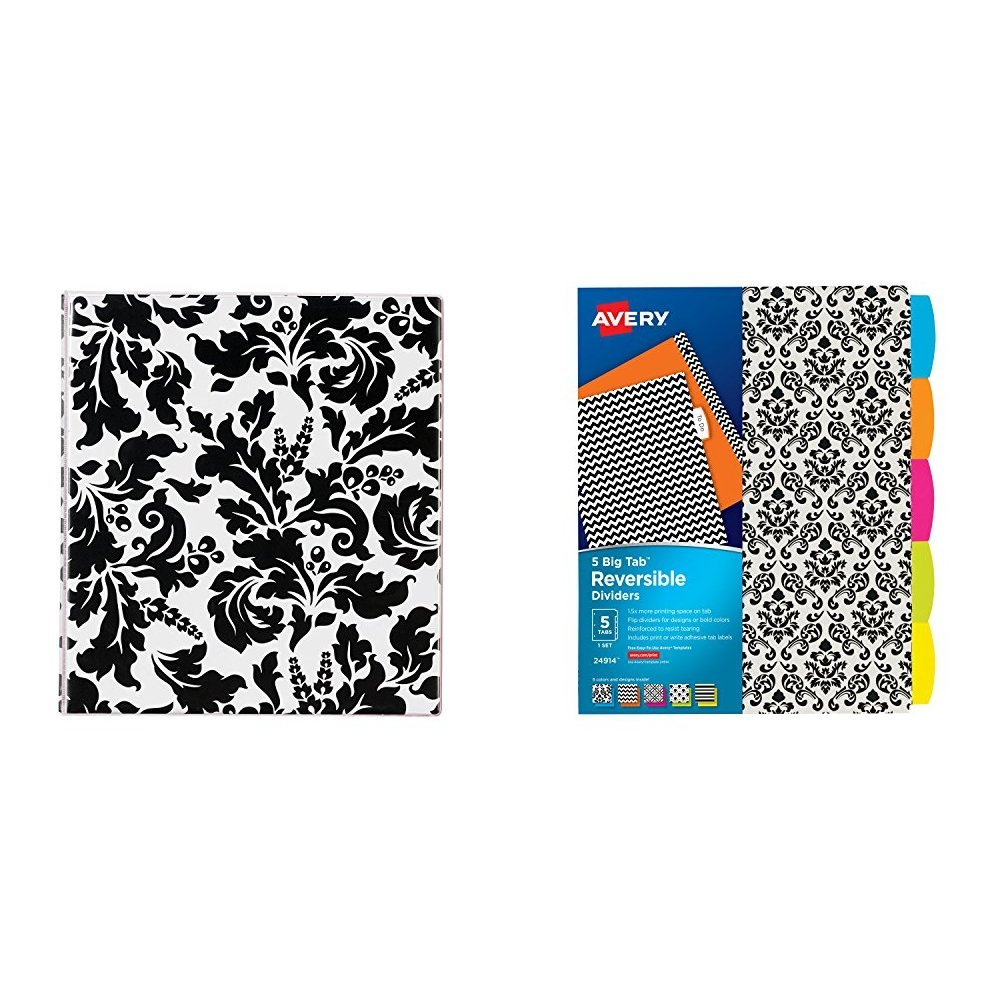 Avery Durable View Binder with 1'' Round Rings, Damask with Reversible Fashion Dividers, 5 Tabs, 1 Set, Assorted Designs