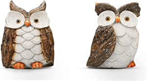 ARTICTERN Funny Garden Owls Family Sculptures and Statues, for Outdoor Patio Yard and Indoor Home Decor, 14 inches Large, Resin Figurines - Unique Light Up Outdoor Ornaments and Gifts