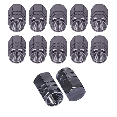 BEADNOVA Valve Stem Caps Aluminum Chrome Caps for Tires Valve Caps (12pcs Pack,Gun Gray): Automotive