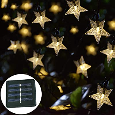 Windpnn Solar String Lights Outdoor, Solar Powered Star String Lights, 30ft 50LED Waterproof Christmas Solar String Lights for Gardens Patio Landscape Xmas Tree New Year(Warm White) : Garden & Outdoor