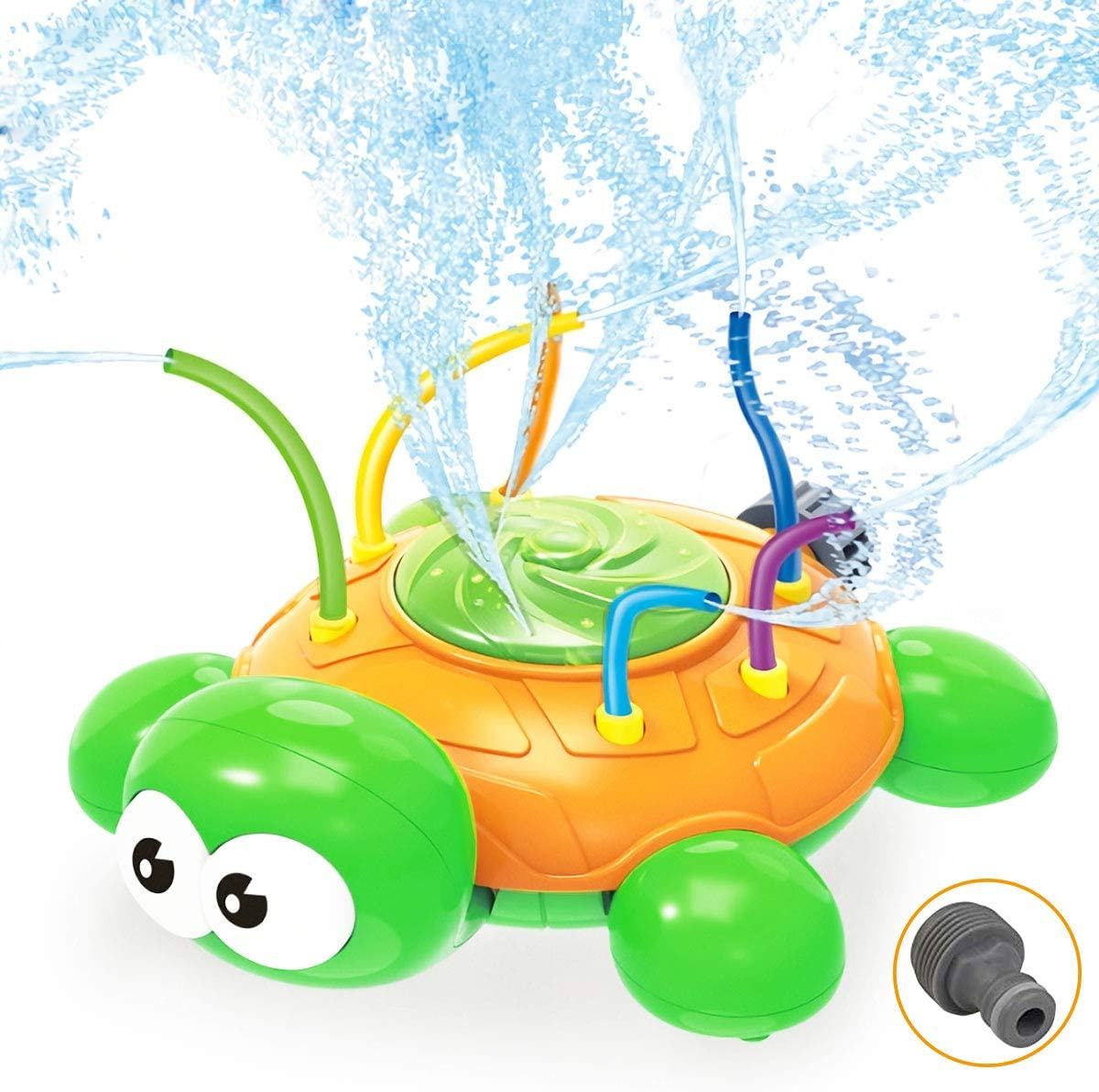 Ingreen Water Spray Sprinkler Toy for Kids - Garden Sprinkler with Hose Swing Tubes Tools, Courtyard Swirl Turtle Spinning Lawn Funny Water Game Outdoor in Summer for Toddlers Children Teens