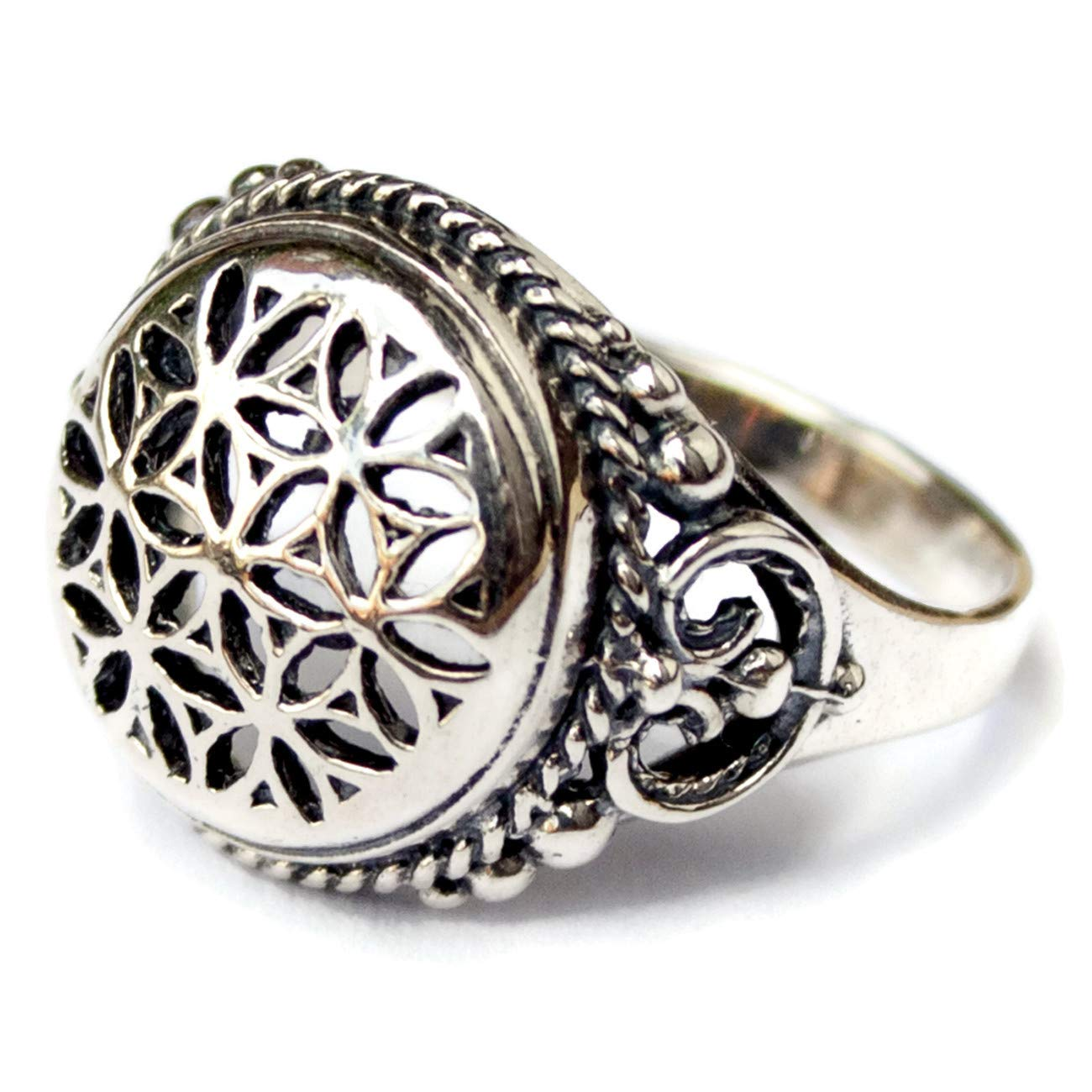 925 Sterling Silver Flower of Life Ring for Women Sacred Geometry Jewelry Seed of Life Mandala ring Size 6
