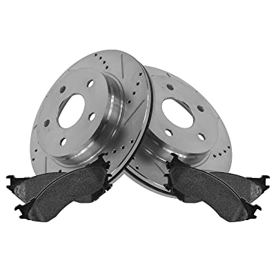 Performance Drilled & Slotted Disc Brake Rotor & Pad Front Set: Automotive