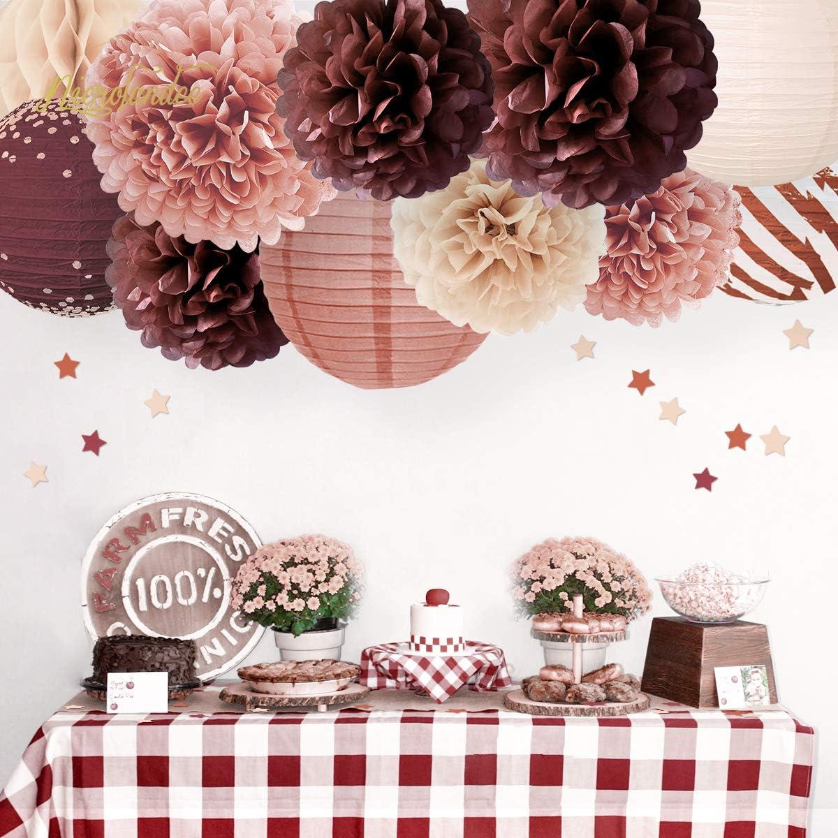 12PCS Elegant Cinnamon Rose Paper Lanterns Tissue Pom Pom Table Confetti for Valentines Day Fall in Love Wedding Birthday Bridal Shower Party Decor NICROLANDEE Wedding Party Decorations