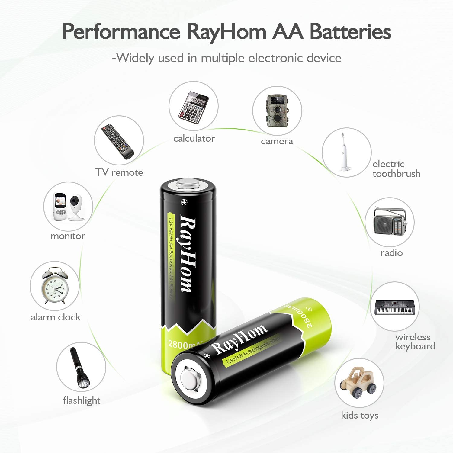 Battery(8Pack ) RayHom AA Rechargeable Batteries 2800mAh Ni-MH AA Pre-charged