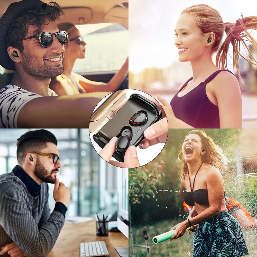 Zagzog Auriculares Bluetooth Inalámbricos, Bluetooth V5.0 Caja de Carga de 3000mAh Teclas Táctiles Impermeable IPX7 Estéreo con Micrófono CVC8.0 Mini Manos Libres Deportivos para iOS/Android Negro