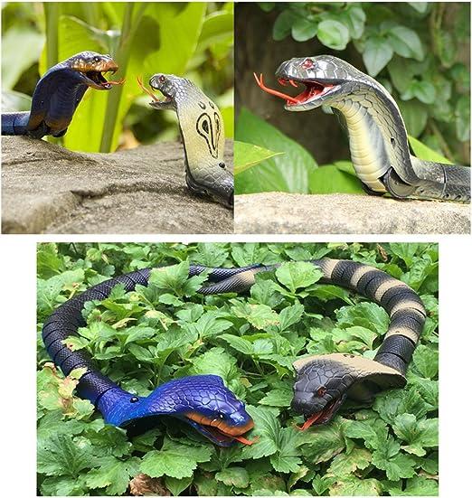 realistisches Design Geschenk f/ür Kinder-Geburtstag dingdangbell Kinder Schlangen-Spielzeug mit wiederaufladbare Fernbedienung 40,6/cm lang schwarz gr/ün Party