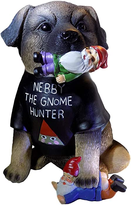 SUBURBAN OFF GRID | Nebby The Gnome Hunter | Dog Garden Gnomes Outdoor Funny Statue Decoration | German Shepherd Puppy Art Statuette For Gardens, Home & Office | Weatherproof Polyresin | 9 Inches Tall