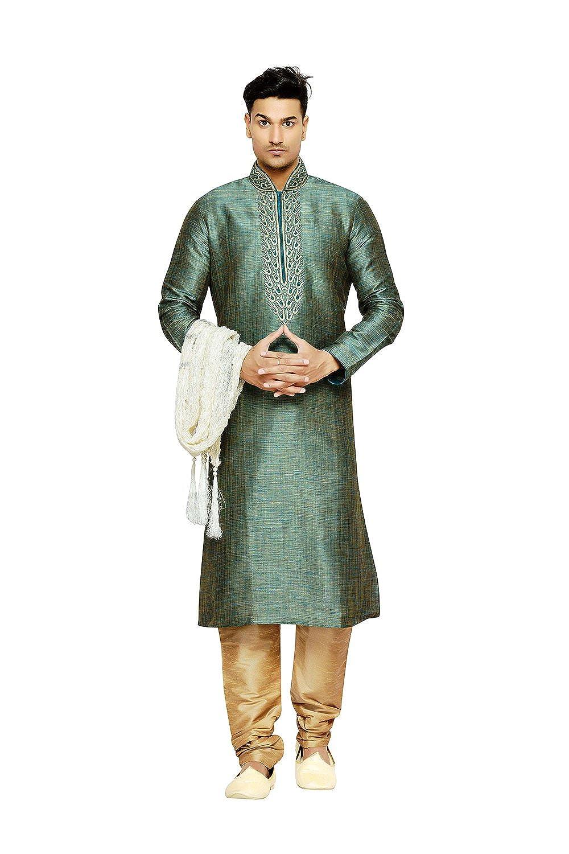 Indian Traditional Designer Partywear Ethnic Wear Rama multi color Mens Kurta Pajama KES-5347
