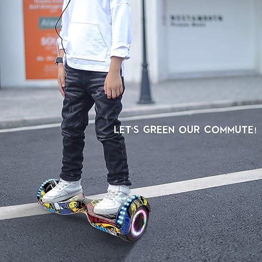 RCB Patinete Eléctrico Self Balancing Scooter de Auto-Equilibrio Luces LED Integradas con Hoverkart Go-Kart Bluetooth Regalo para Niños y Adultos 6.5