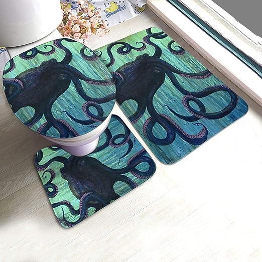 LAOLUCKY - Juego de 3 Alfombrillas de baño con diseño de Pulpo y ...