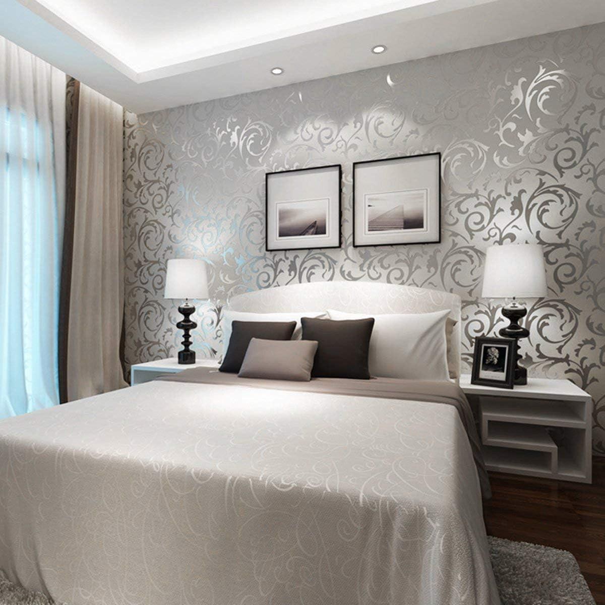 Gris plateado Papel pintado 3D no tejido de damasco de lujo de estilo europeo Papel de rollo de pared en relieve simple Decoraci/ón vertical del hogar del dormitorio
