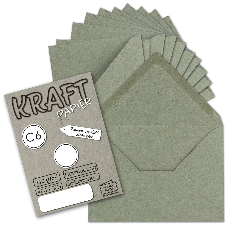 Nassklebung Spitzklappe 100x Vintage-Umschl/äge DIN C6 aus braunem Kraftpapier 114 x 162 mm 11,4 x 16,2 cm UmWelt/® by Gustav NEUSER/®