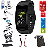 Samsung Gear Fit2 Pro Fitness Smartwatch - Black, Small (SM-R365NZKNXAR) + Fusion Bluetooth Headphones + Gear Black Jacket Case + 7 Pcs Fitness Kit + 1 Year Extended Warranty