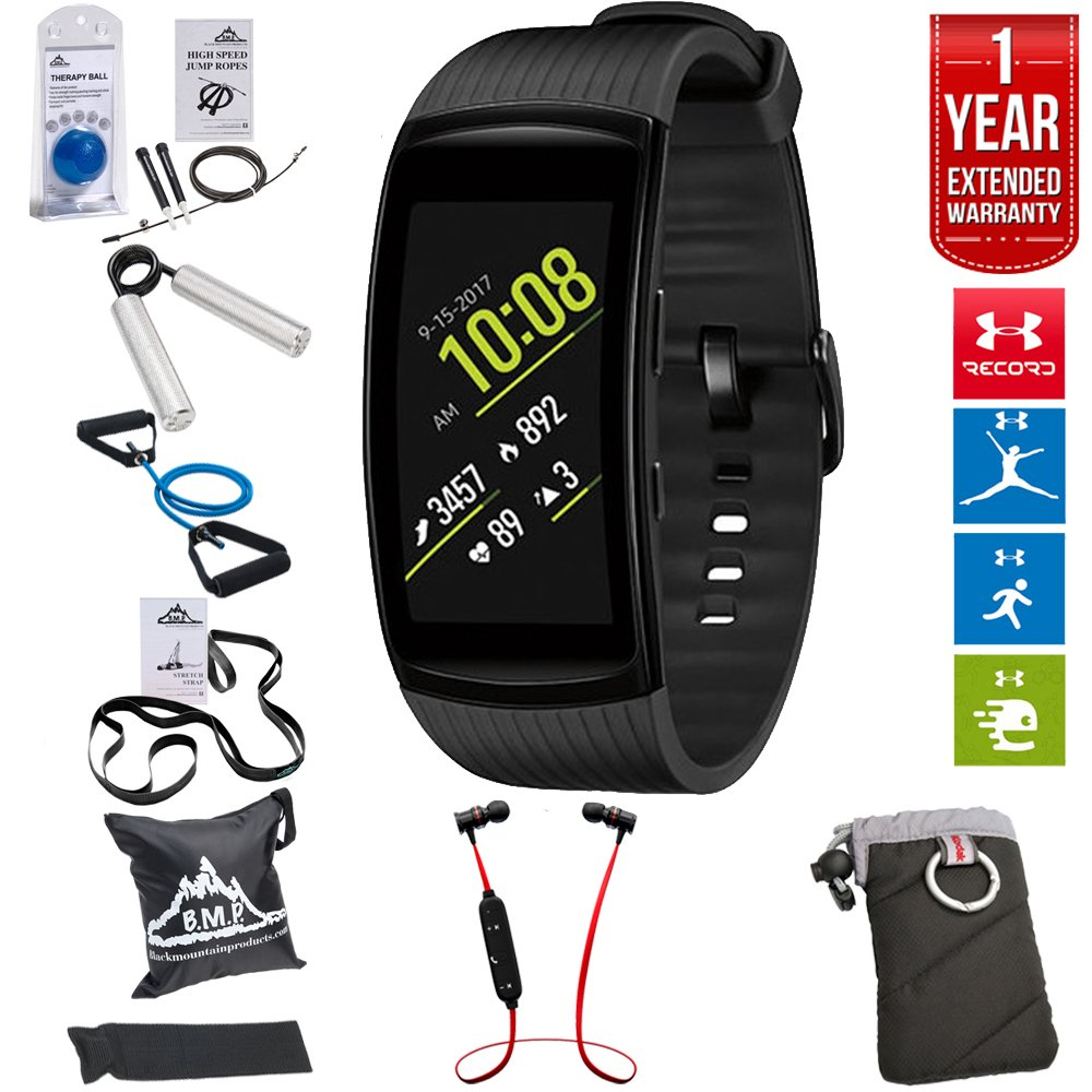 Samsung Gear Fit2 Pro Fitness Smartwatch - Black, Small (SM-R365NZKNXAR) + Fusion Bluetooth Headphones + Gear Black Jacket Case + 7-in-1 Total Resistance Fitness Kit + 1 Year Extended Warranty
