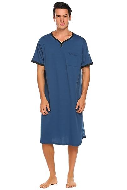 Ekouaer Mens Snug Nightwear Soft Nightshirt Loose Henley Nightgowns(Blue 2c72653d2