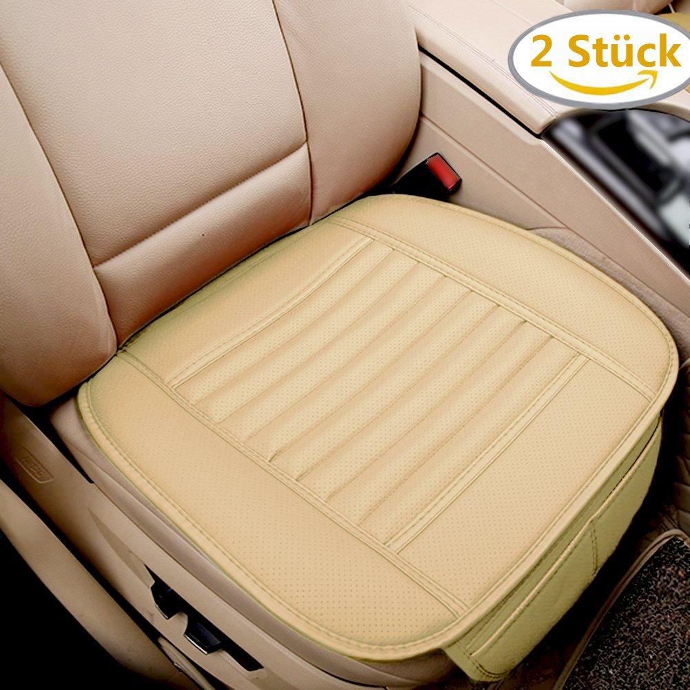 BIG Ant Sitzauflage Auto Sitzbezüge Sitzkissen für Auto Front Auto Abdeckung für Vordersitz mit Bambuskohle PU Leder x 2 Stück, Beige