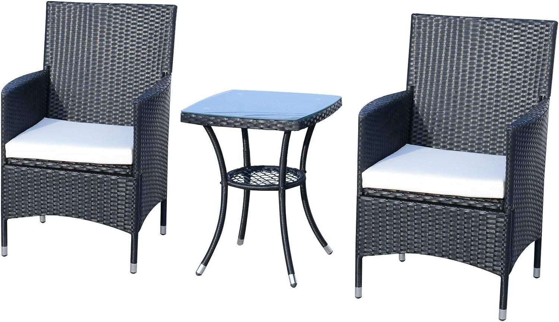 Outsunny Conjunto de Muebles Ratán para Jardín Formado por 1 Mesa y 2 Sillones con Cojines Estructura de Metal y Ratán Negro