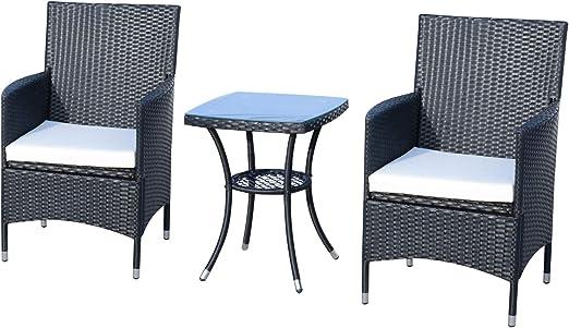 Outsunny Conjunto de Muebles Ratán para Jardín Formado por 1 Mesa y 2 Sillones con Cojines Estructura de Metal y Ratán Negro: Amazon.es: Jardín