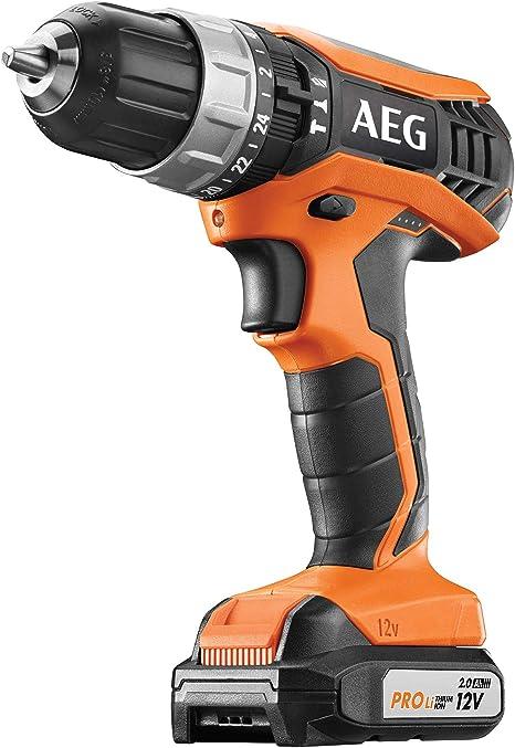 AEG BSB12G3LI 202C Perceuse visseuse à percussion sans fil 12 V avec 2 batteries 2,0 Ah et chargeur 2 vitesses avec boîtier SB12G3LI 202C
