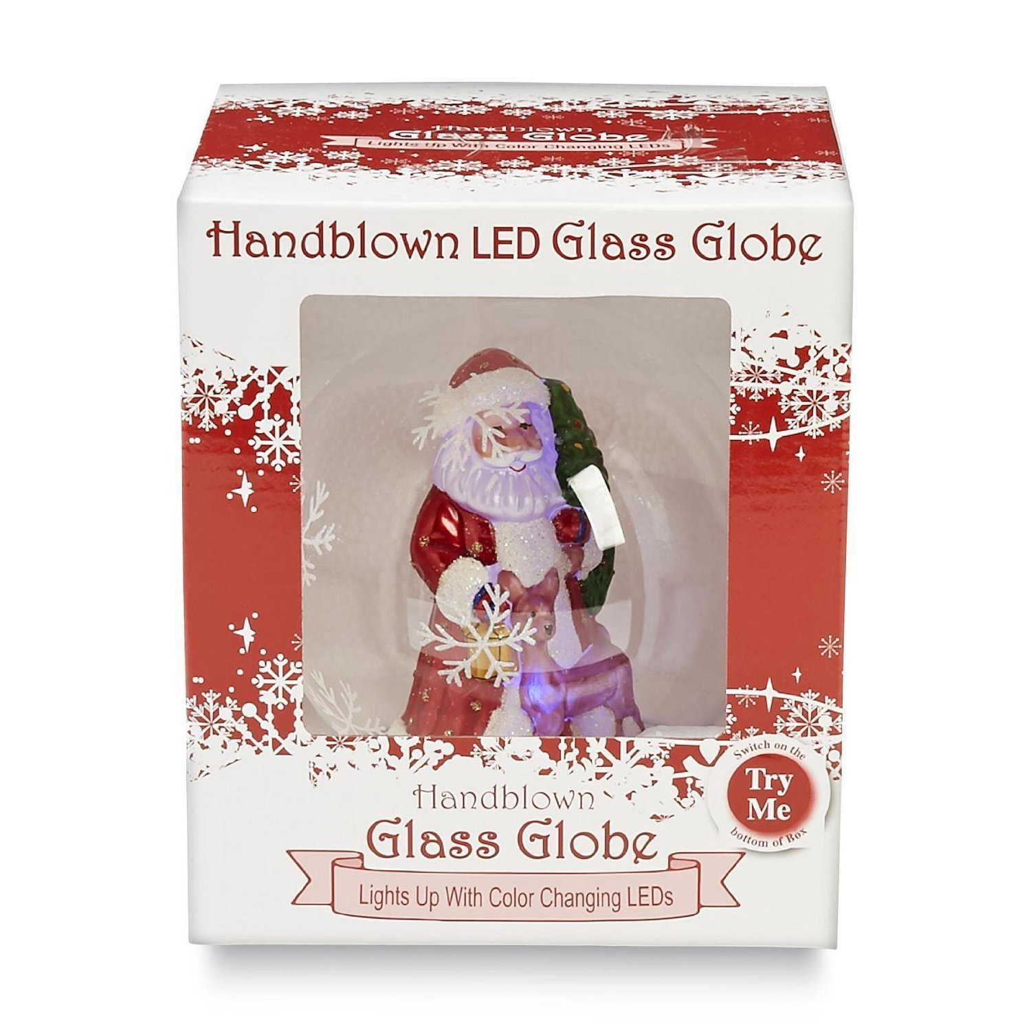 """Amazon 5"""" Christmas Hand Blown Glass Snowglobe With Color"""