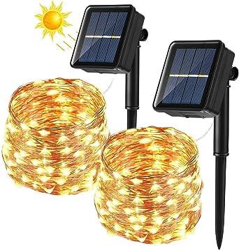 BrizLabs Cadena Luces Solares 2 Paquete 12m 120 LED Guirnalda Luces Solares Exterior Impermeable Iluminación Alambre de Cobre para DIY Navidad Jardín Ventana Valla Boda Decoración, Blanco Cálido: Amazon.es: Iluminación