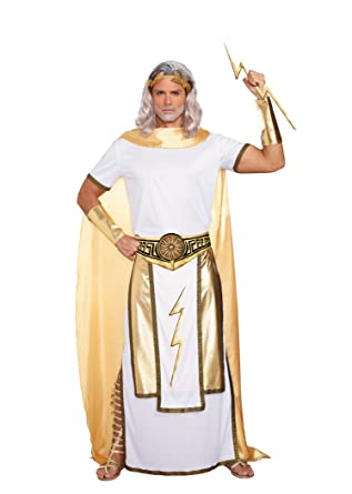 Dreamgirl Men\u0027s Zeus Costume, White/Gold, Medium
