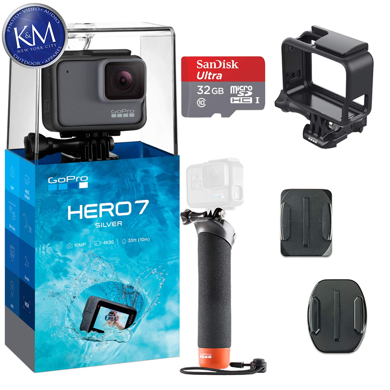 GoPro Hero 7 (Silver) Action Camera w/ 32GB Memory and Floating Grip Bundle by K&M