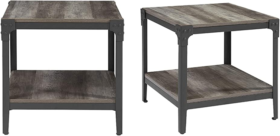 Amazon Com Walker Edison Declan Declan Urban Industrial Angle Iron And Wood Accent Tables Set Of 2 Grey Wash Furniture Decor