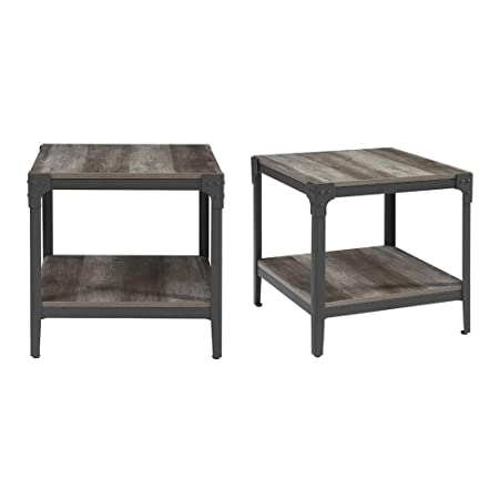 WE Furniture AZ20AISTGW Side Square End Table, Grey Wash