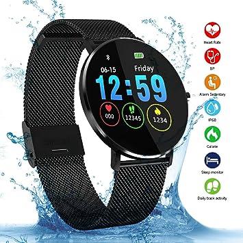 Smartwatch, Kivors IP68 Impermeable Reloj Inteligente Classic Ronda de Pantalla Táctil con Monitor Cardiaco, Monitor de Sueño, Podómetro, Notificación ...