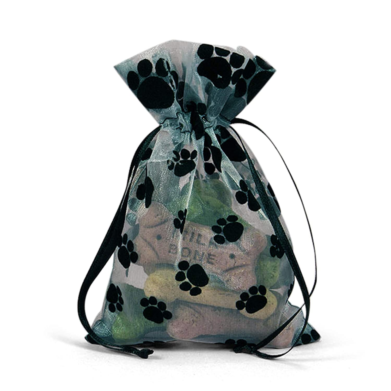 Panda Party Supplies Organza Sheer Black Paw Print Drawstring Party or Treat Bags Pack of 12