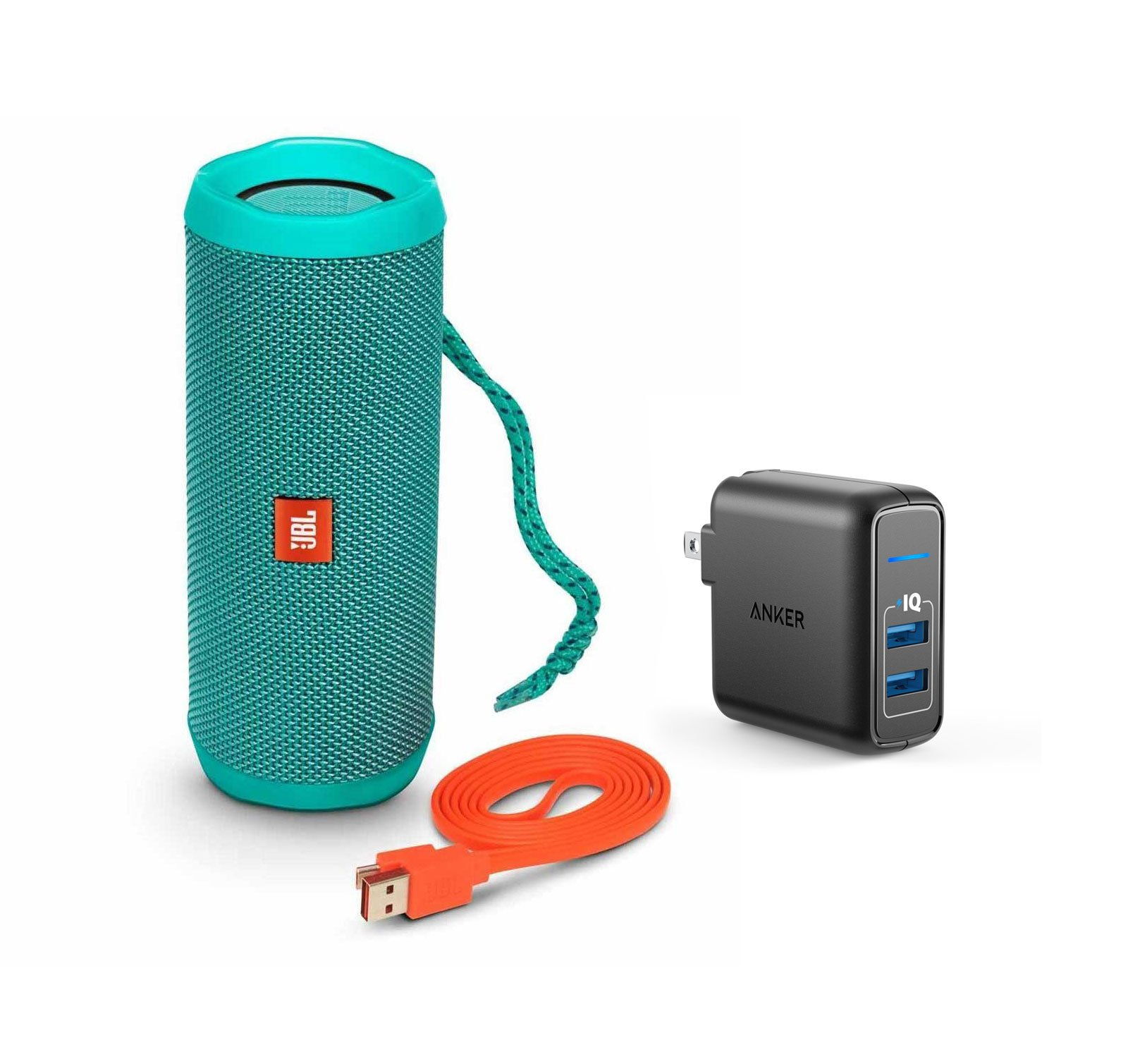 JBL Flip 4 Portable Bluetooth Wireless Speaker Bundle with Dual Port 24W USB Travel Wall Charger - Teal