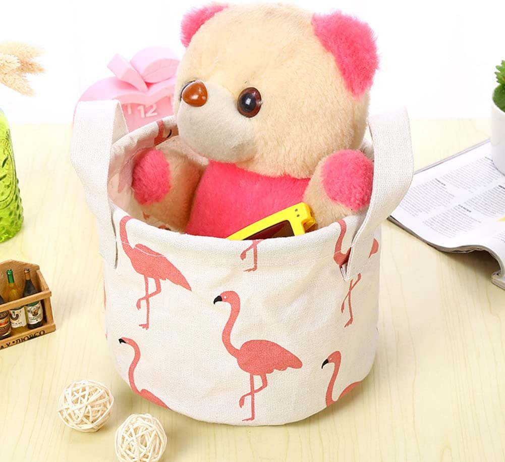 Cdet 1X Linen Storage Basket with Handle White Flamingos Baby Storage Toy Organizer Storage Bag Desk Box Home Decoration Pink