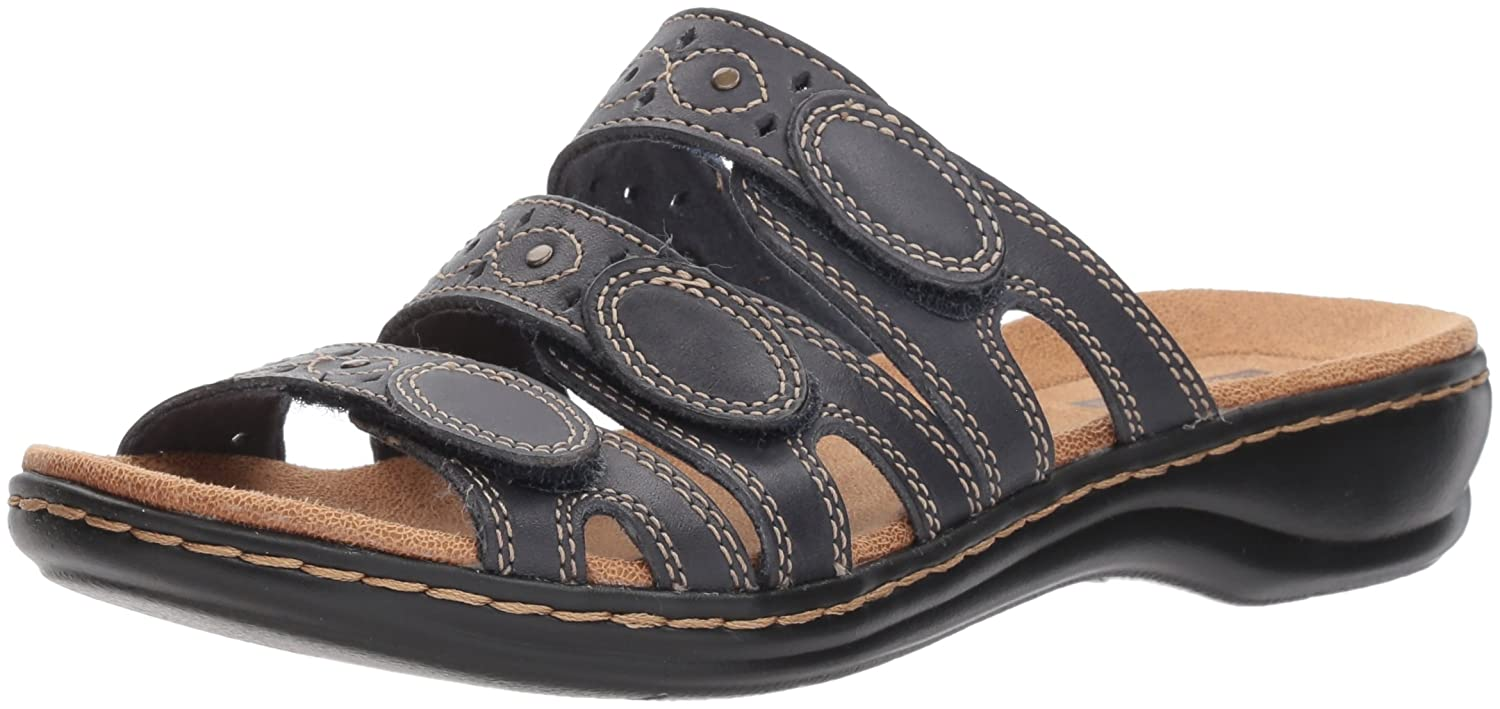 Navy Leather Clarks Women's Leisa Cacti Q Flat Sandals
