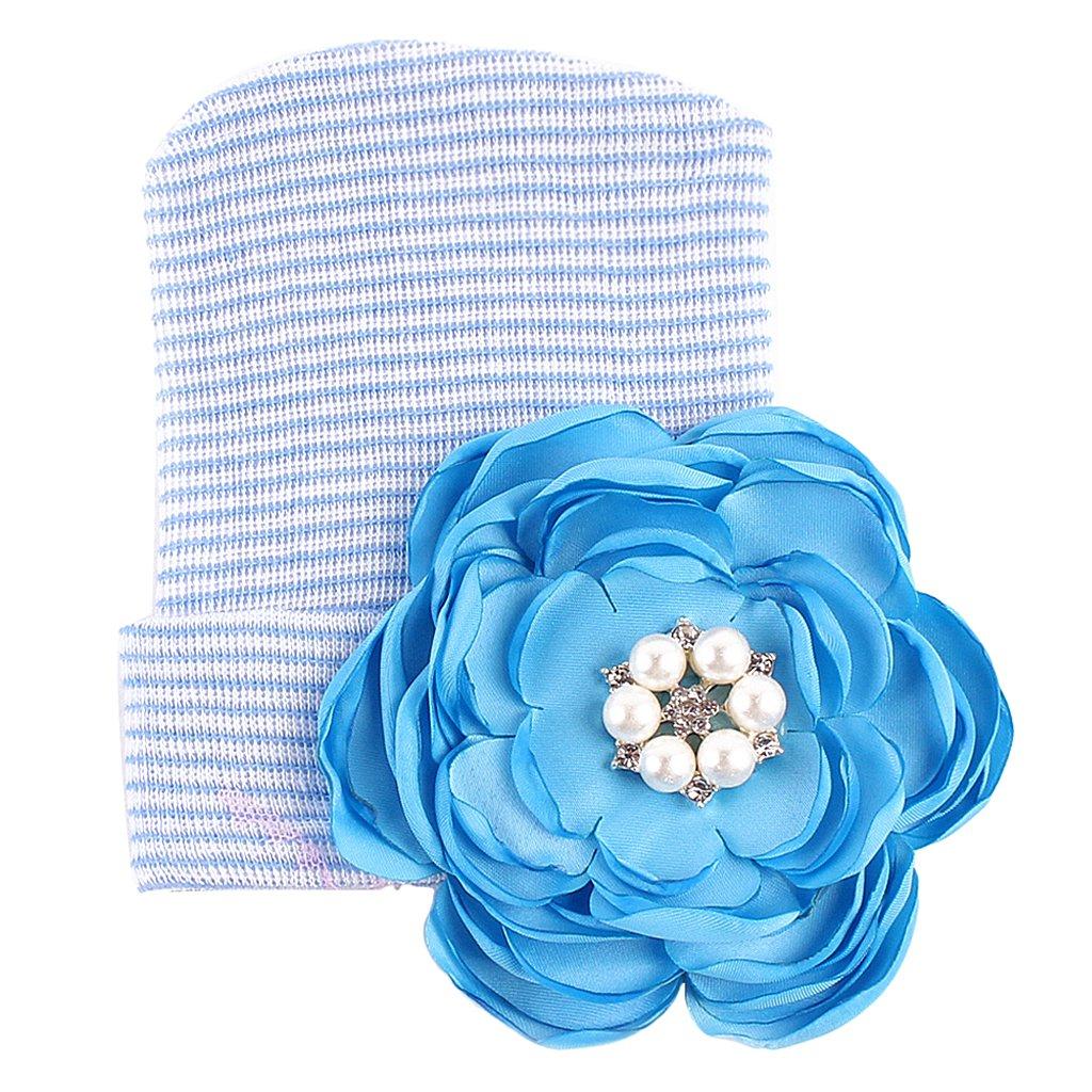 B Prettyia 1pc Newborn Baby 0-3 Months Cotton Photography Big Flower Hat Hospital Cap as described