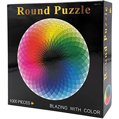 1000 Piece Puzzles for Adults Kids - Gradient Color Rainbow Large Round Jigsaw Puzzle Difficult and Challenge: Toys & Games