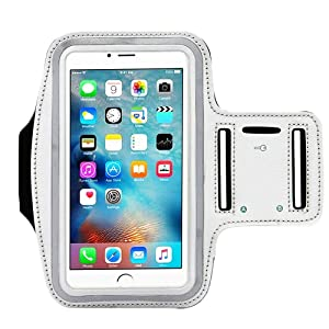 Water Resistant Sports iBarbe Armband Key Holder Night Reflective iPhone X 8 Plus 7 Plus, 6 Plus, 6S Plus,Galaxy s8,s8+,S6/S5, Note 4 etc.Running Exercise (Silver)