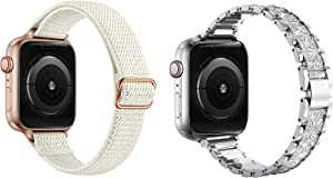 SICCIDEN Compatible with Apple Watch Band Slim Stretchy Solo bands and Slim Bling Bands, Ivory white And Silver 44mm 42mm