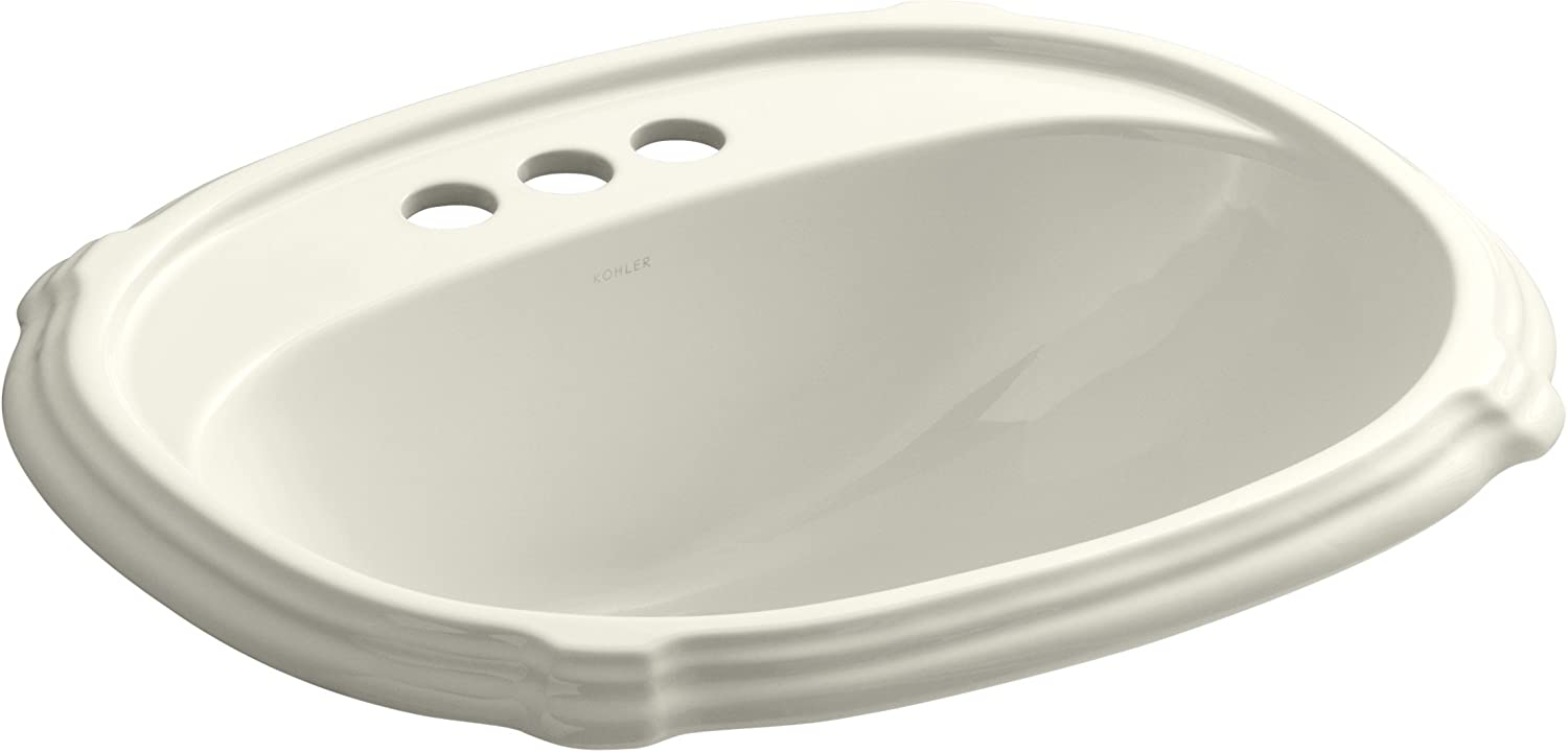 Kohler 2189-4-96 Ceramic Drop-In Rectangular Bathroom Sink, 27 x 20.75 x 10.75 inches, Biscuit