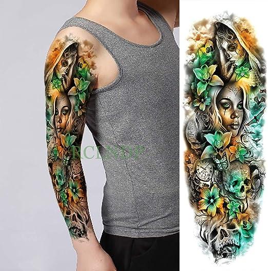 tzxdbh 3pcs-Impermeable Etiqueta Mariposa cráneo Tatuaje Temporal ...
