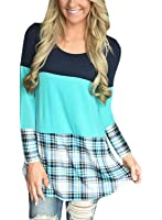 HOTAPEI Womens Back Lace Color Block Tunic Tops Casual Long Sleeve T-Shirts Blouses With Plaid Hem