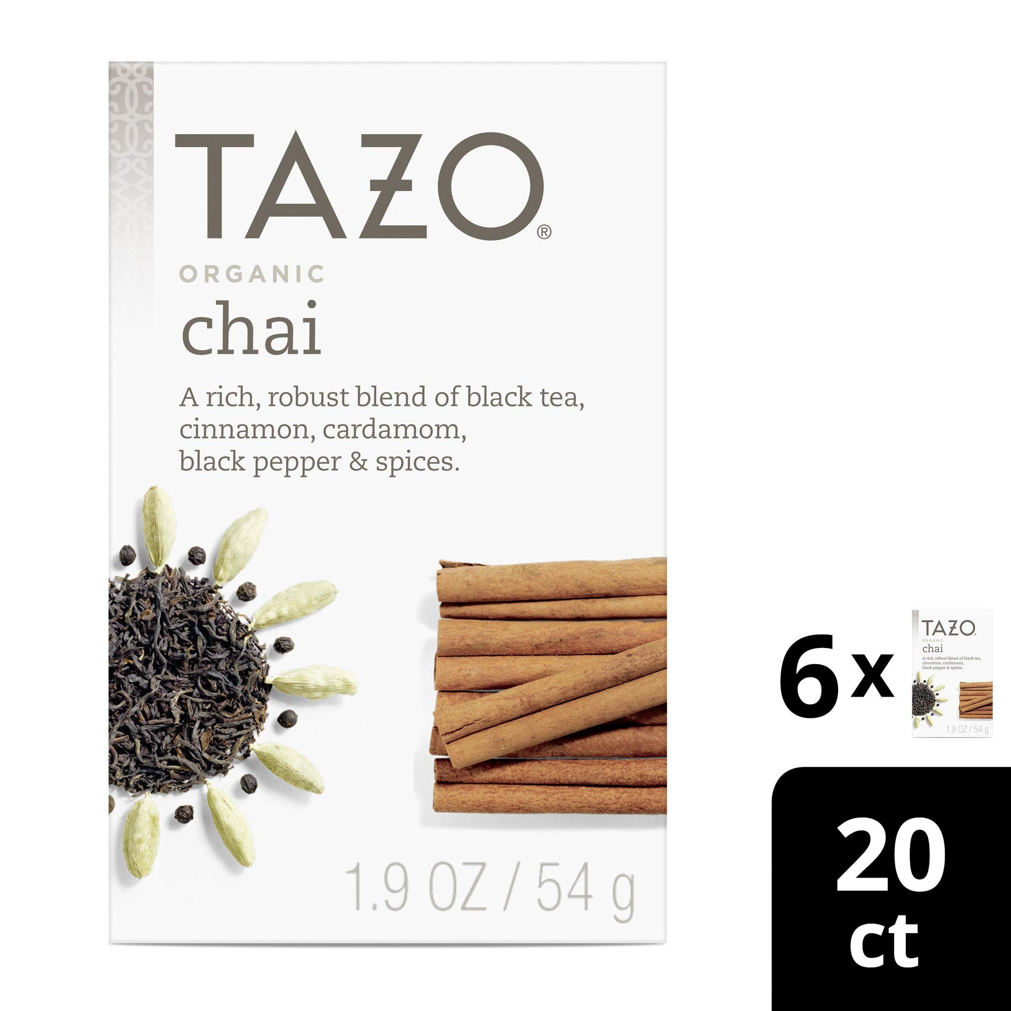 Tazo Organic Chai Black Tea Filterbags, 20 Count (Pack of 6) by TAZO