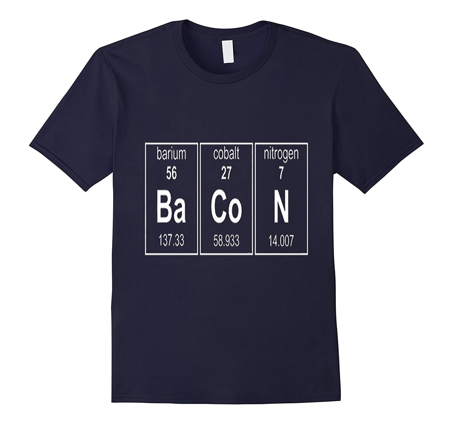 Bacon Chemistry Periodic Table Funny Novelty Tshirt-Art