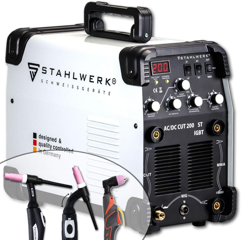 STAHLWERK AC/DC TIG 200 Plasma ST IGBT - Máquina de soldadura TIG + MMA Kombi 200 Amp con cortador de plasma de 50 Amp CUT, apto para ALU, 7 años de garantía