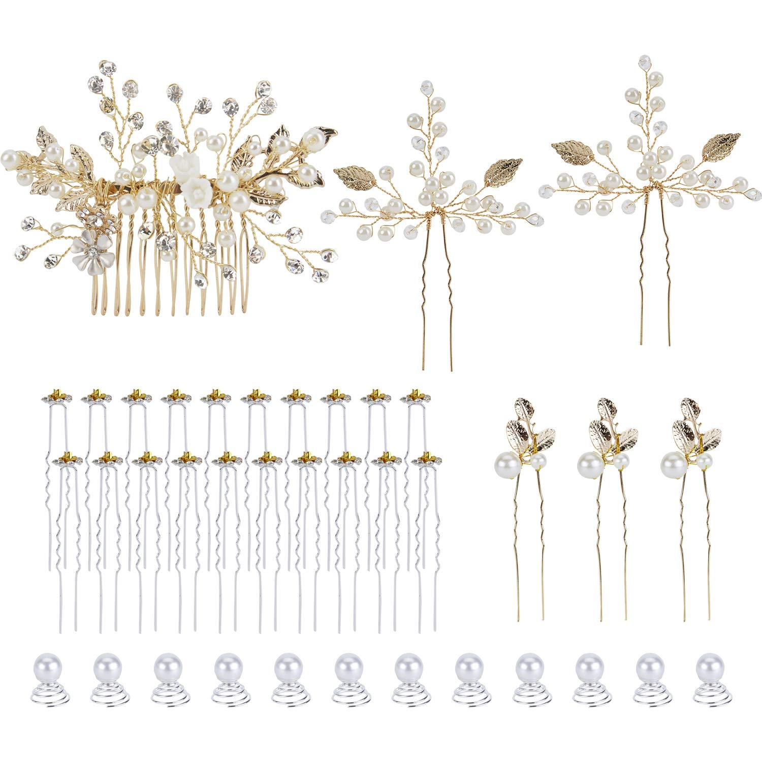 38 Pack Gold Metal Hair Pieces Clips Side Combs Decorative Bobby Pins  Barrettes Party Prom Vines Headpiece Pearl Beads Crystal Rhinestone Flower  Leaf ...