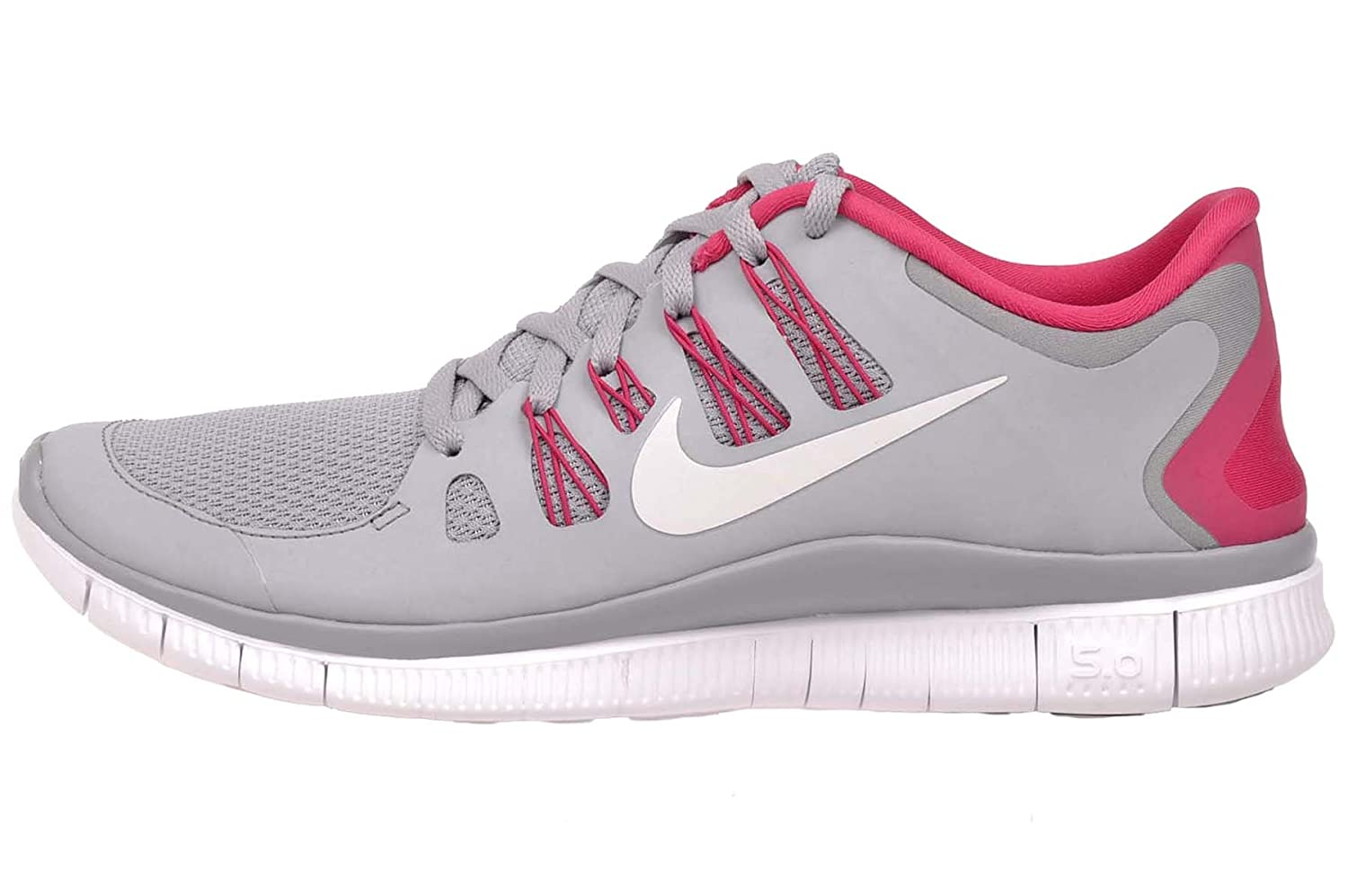 grande vente ebd3c e486d Nike Free 5.0+ Womens Running Shoes 580591-061 Wolf Grey/Pink Force-White  (12 M)
