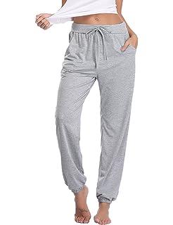 26e88efb8a Abollria Damen Schlafanzughose Pyjamahose Baumwolle Nachtwäsche Hose  Sporthose Freizeithose Jogging Hose Traininghose Fitness High Waist Lang