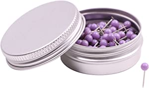 PTC Office 1/8 Inch Map Tacks DIY Craft Plastic Round Head Push Pins (Purple, 100PCS)